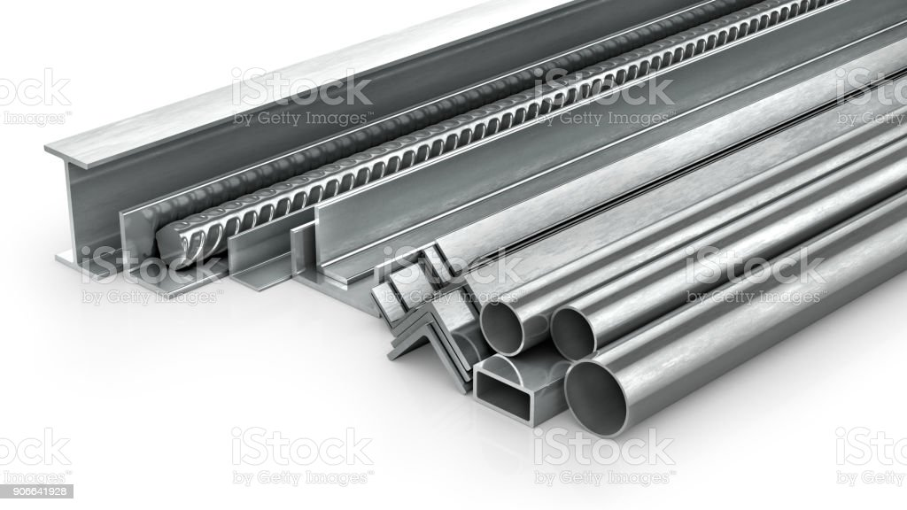 Different metal products. Metal profiles and tubes. 3d illustration stock photo