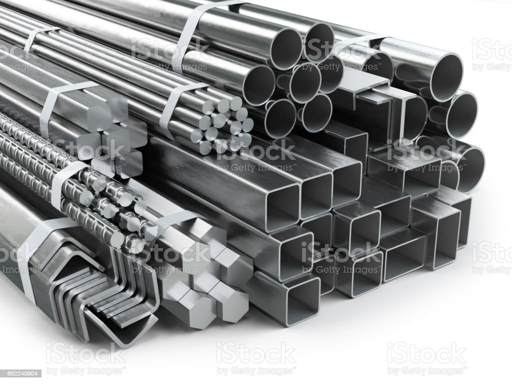 Different metal products. Stainless steel profiles and tubes. stock photo