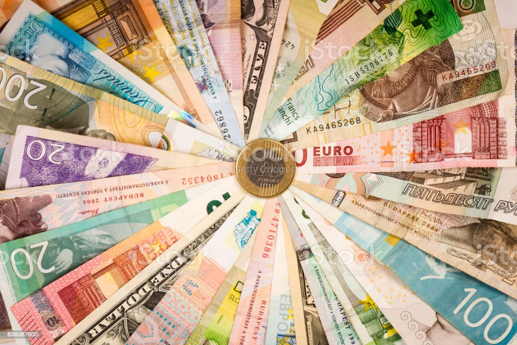 different mixed banknotes - foto de stock