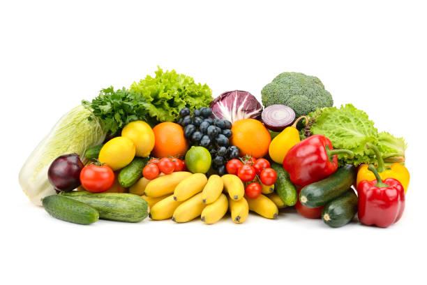 diferentes frutas y verduras saludables multicolores - fruta fotografías e imágenes de stock
