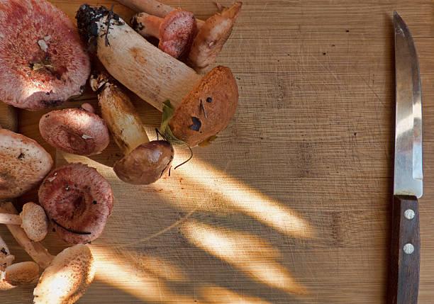 different mushrooms and knife on wooden background - schwarzwurzeln kochen stock-fotos und bilder