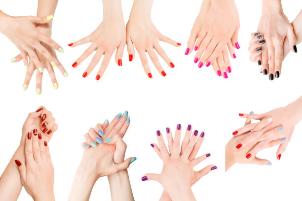 Different nail polish collection isolated with clipping path stock photo