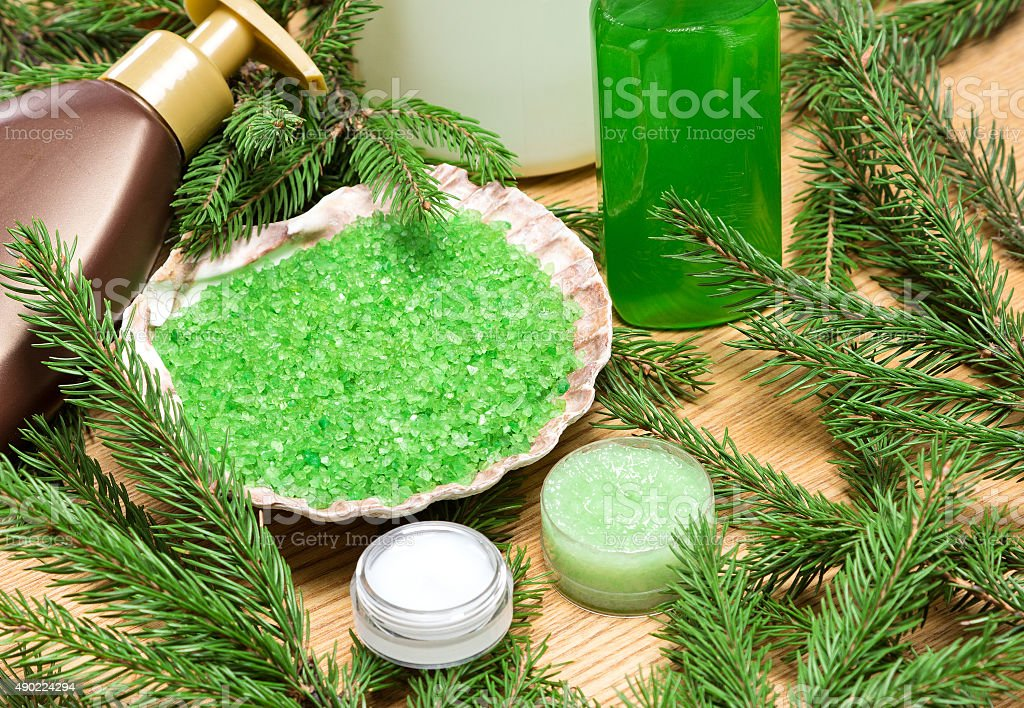 Different natural cosmetic products for skincare with firry bran stock photo