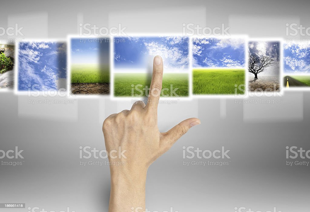 different natural images on technology,digital screen royalty-free stock photo
