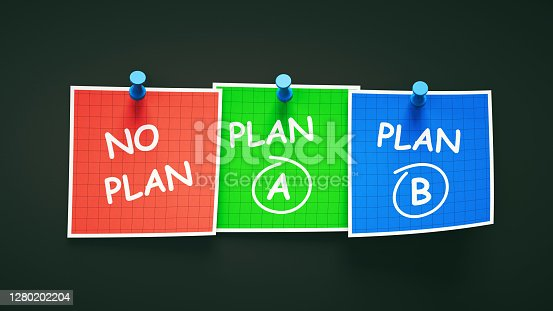 Different notes with different abstract strategy plans pinned and lined out on a dark background.