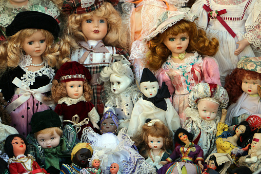 Different old dolls together