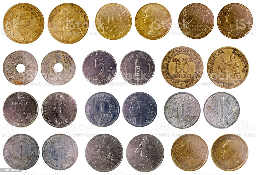 different old french coins stock photo