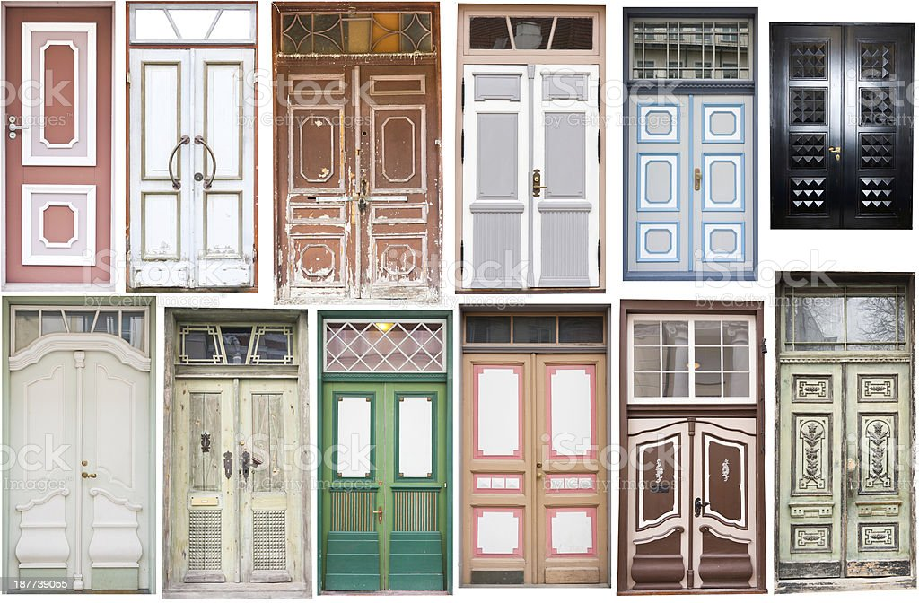 Different old style doors royalty-free stock photo