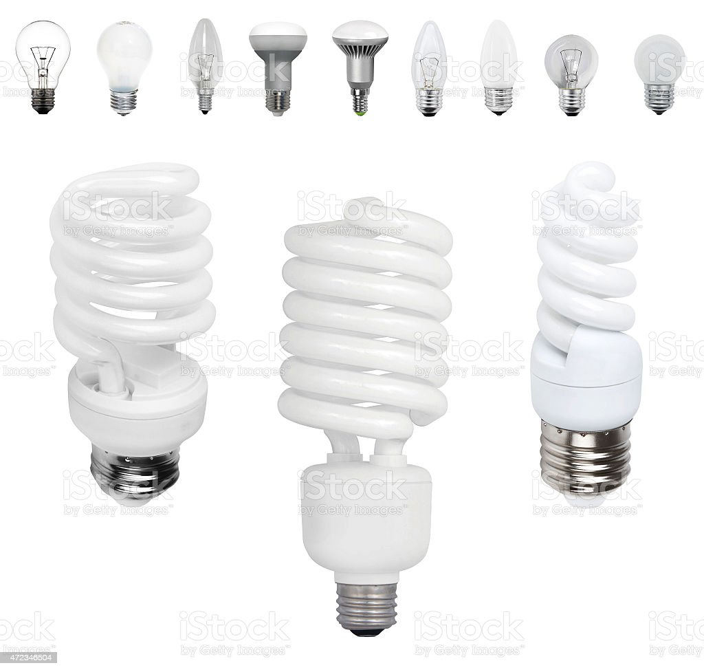Different Old Types Of Bulbs And Modern Lightbulb Stock