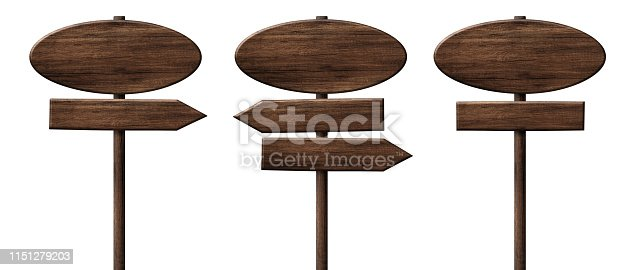 istock Different oval wooden direction arrow signposts or roadsigns made of dark wood 1151279203