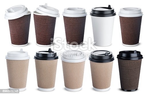 istock Different paper coffee cup isolated on white background. Mock up 896375248