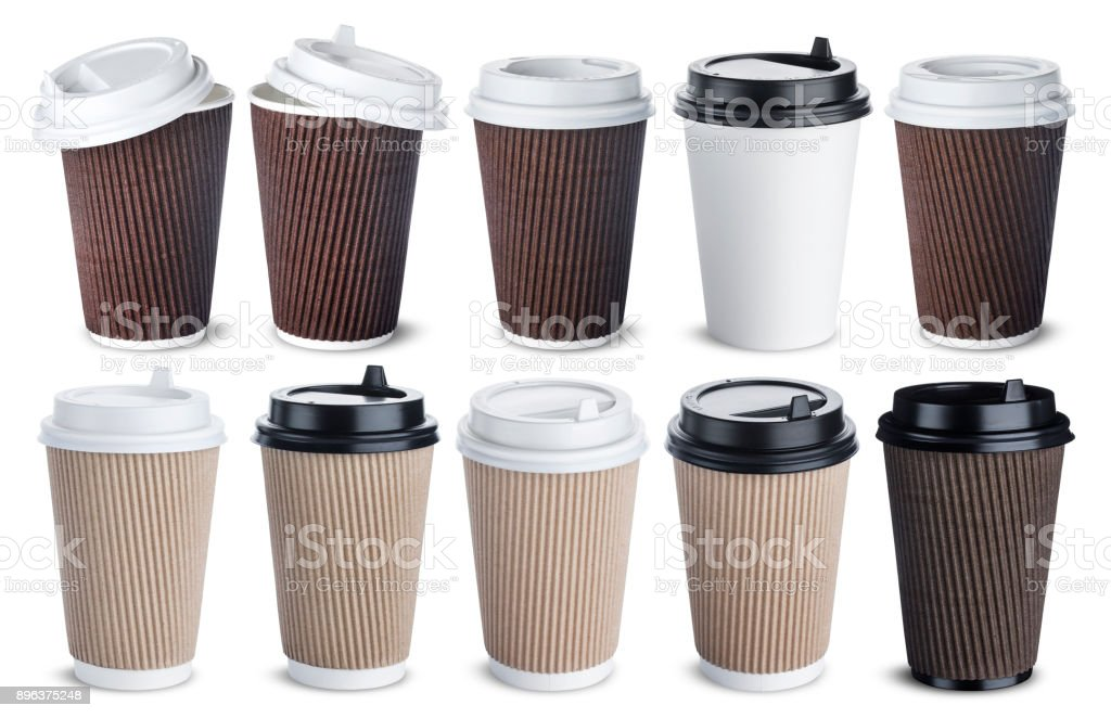 Different paper coffee cup isolated on white background. Mock up stock photo