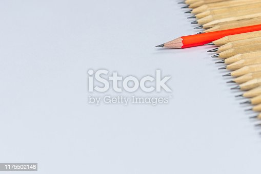 istock Different pencil standout show leadership concept. 1175502148