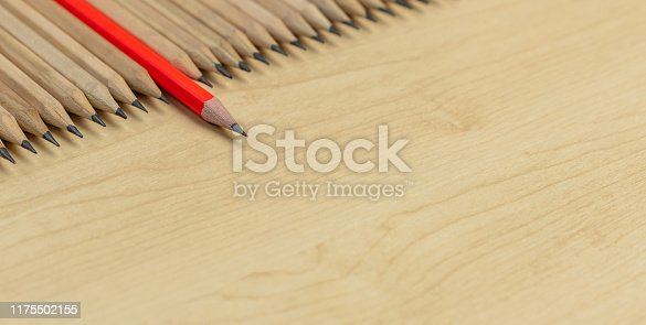 istock Different pencil standout show leadership concept. 1175502155
