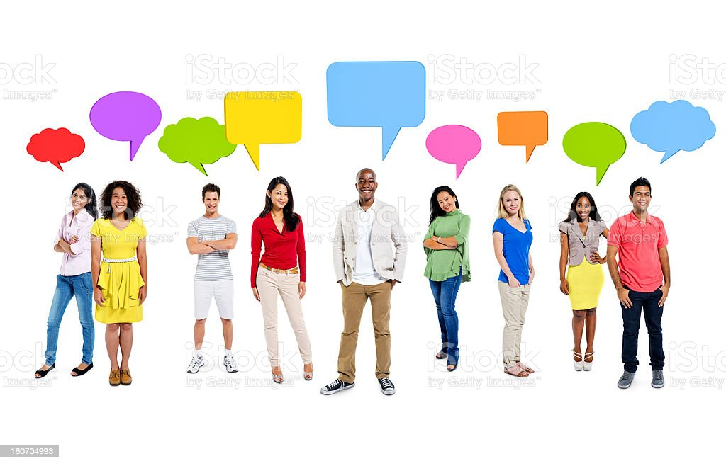 Different people with colored communication clouds stock photo