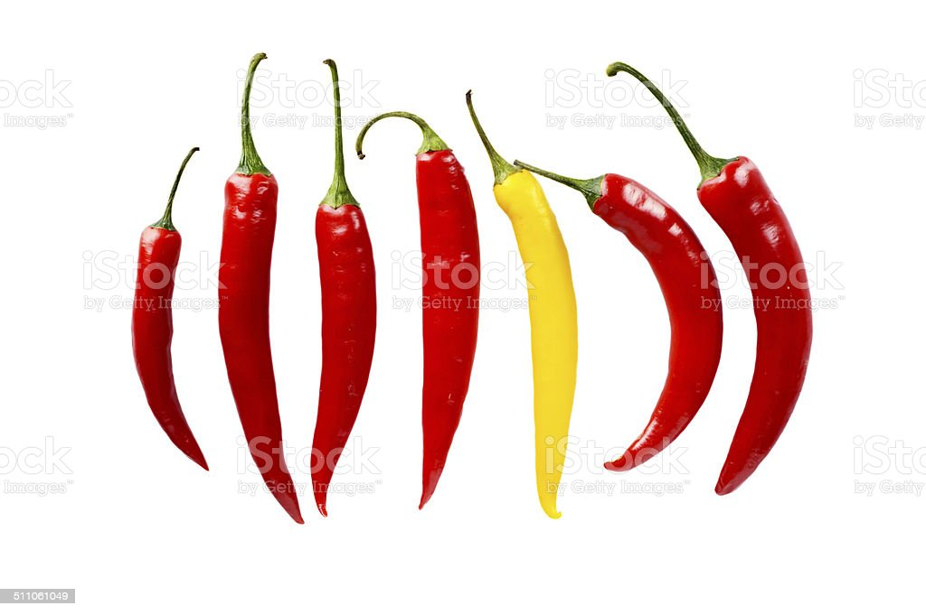 Different pepper stand out from the crowd in line isolated stock photo