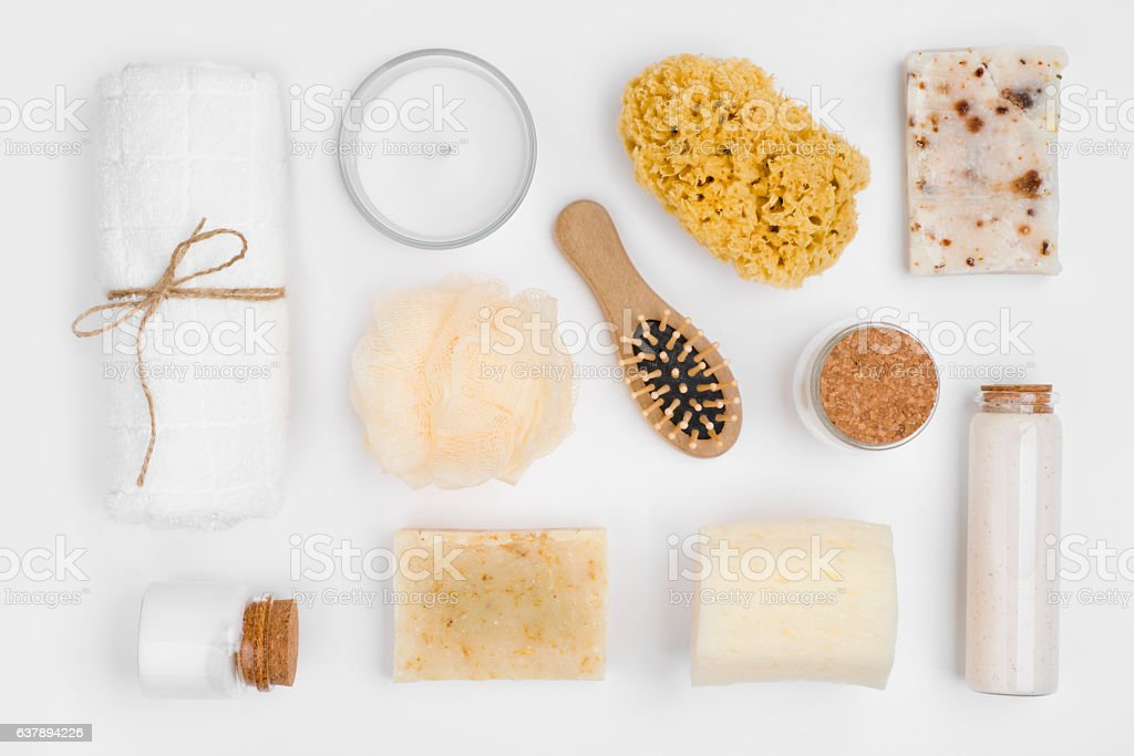 Different personal hygiene objects isolated on white background, top view stock photo
