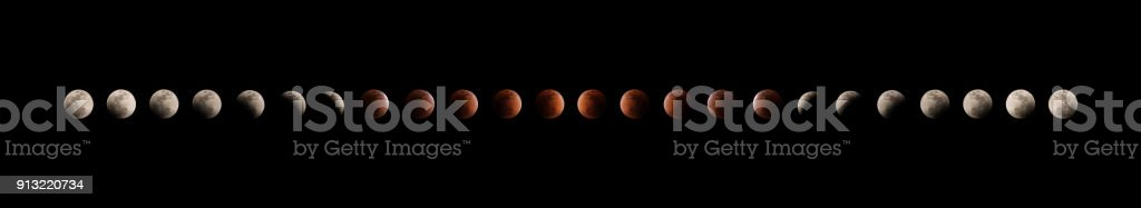 different phases of total lunar eclipse on dark sky background