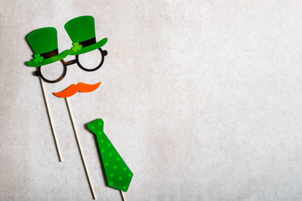 different photo booth props for st patricks day party - happy st. patricks day stock photos and pictures