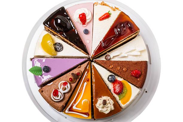 различные pieces of cake вид сверху - кусок торта стоковые фото и изображения