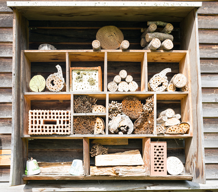 different pieces of wood and brick used for an insect hotel during winter
