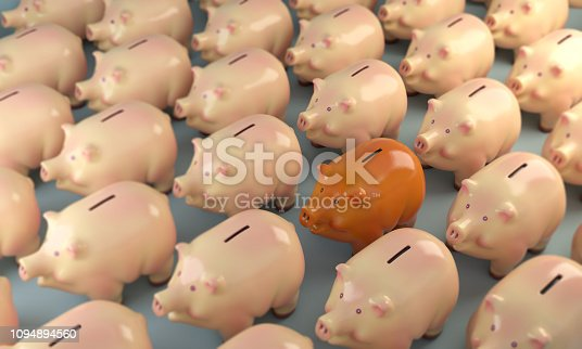 An orange colored piggy bank standing out from the crowd. Can be used on investment, saving money concepts. ( 3d render )