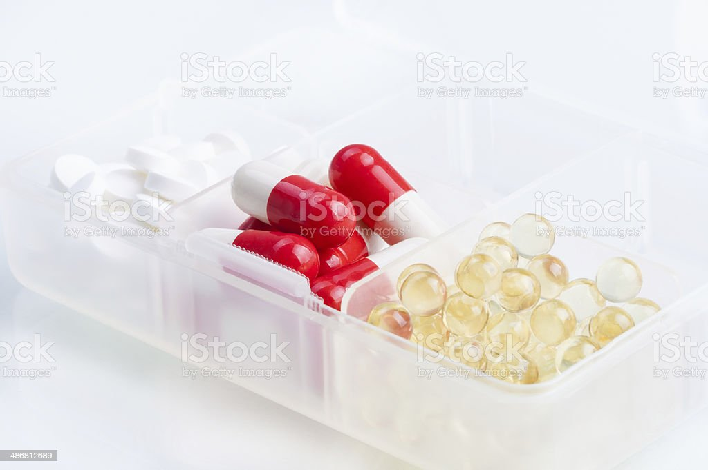 Different pills in the box royalty-free stock photo