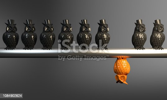 Different point of view, an orange colored owl standing out from the crowd. ( 3d render )