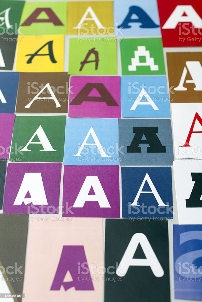 Different printouts of the letter A royalty-free stock photo