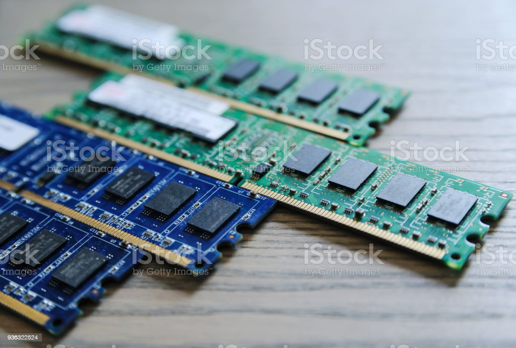 Different RAM slots. stock photo