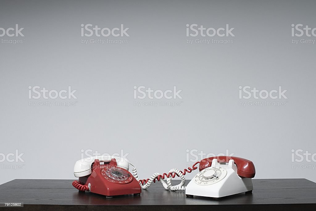 Different receivers on different phones royalty-free stock photo