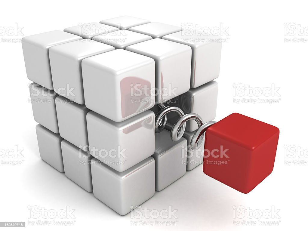 Different red cube jump out from white crowd group royalty-free stock photo