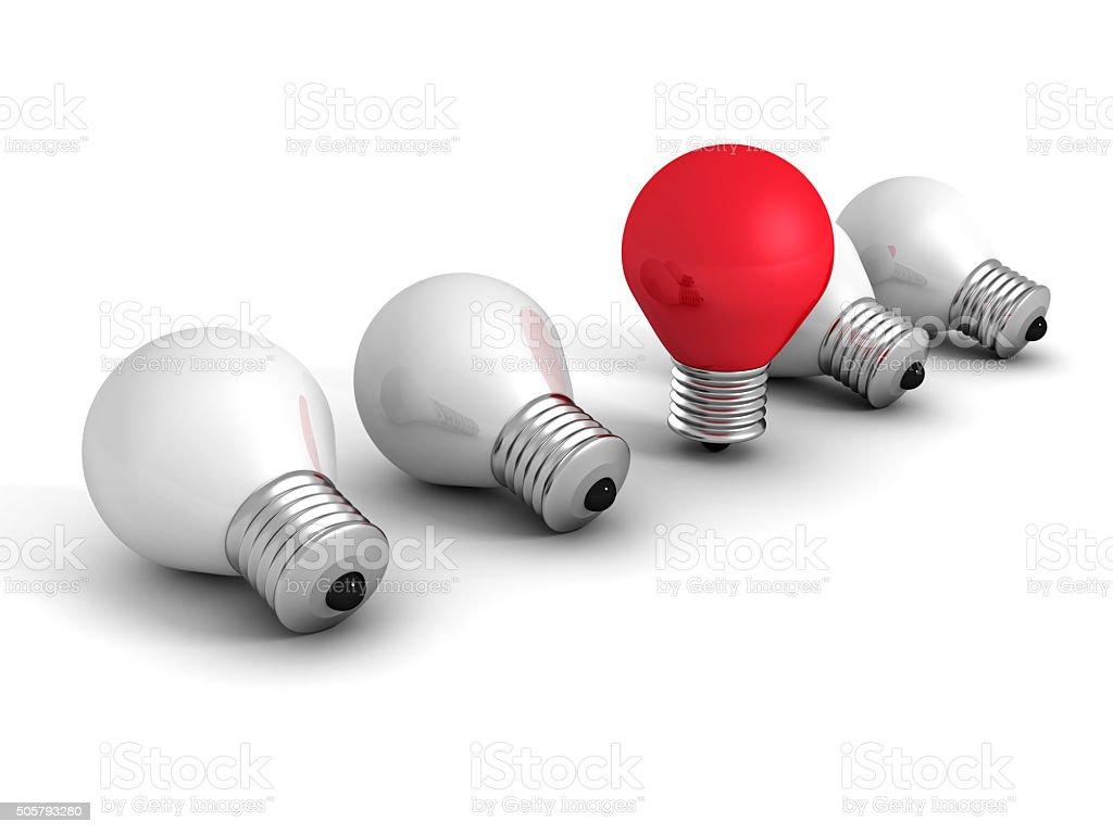 Verschiedene roten Idee Glühbirne Konzept über weiß. Kreativität – Foto