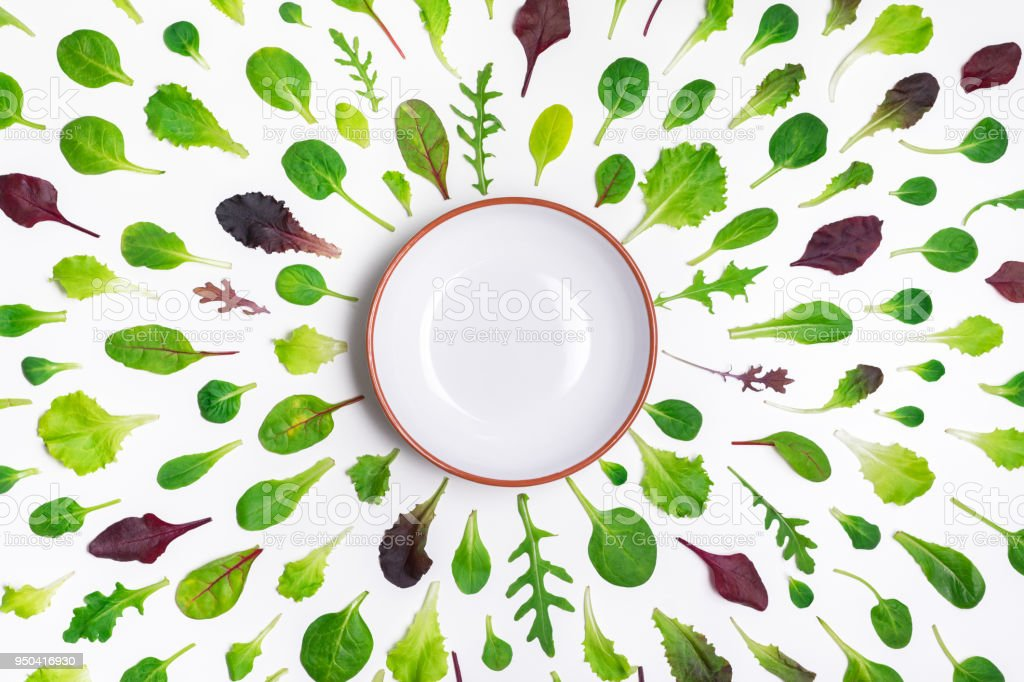 Different salad leaves and a bowl on white background stock photo