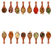 Different seasonings and spices in wooden spoons isolated on white background. Top view.