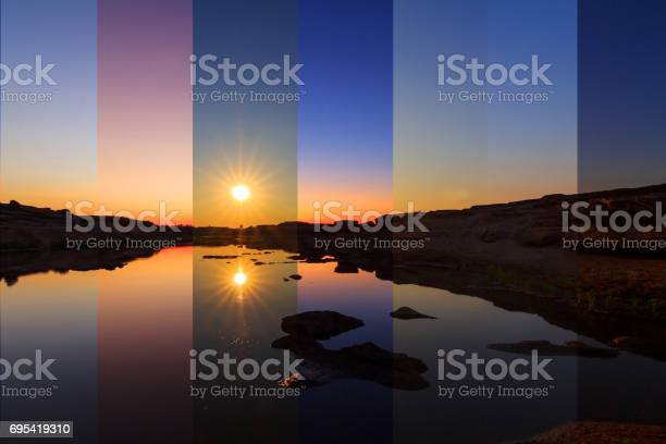 Photo of different shade color at the lake in different time