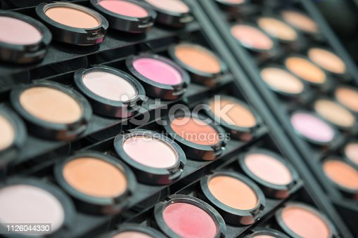 Different shades of blush or face powder. Smears of foundation for face. Makeup crushed powder. Colorful makeup background.