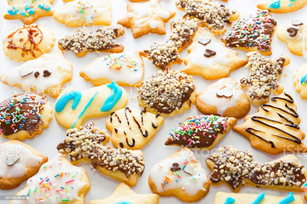 Different Shapes Of Shortbread Vanilla Christmas Cookies Made And