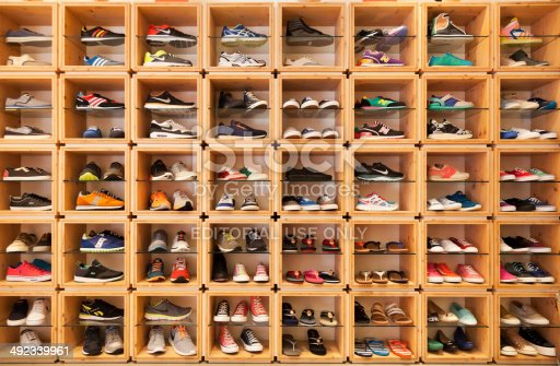 Playa Del Ingles, Spain - May 16, 2014: Different shoes exhibited in a shoe shop in the Yumbo shopping center. Visible brands are Lacoste, Nike, Adidas, Asics, New Balance, Diesel and DKNY.