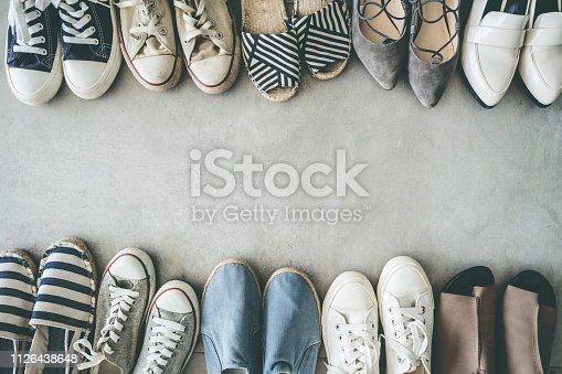 Different shoes on the background
