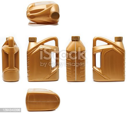 Different side and view of plastic jerrycan isolated on white background