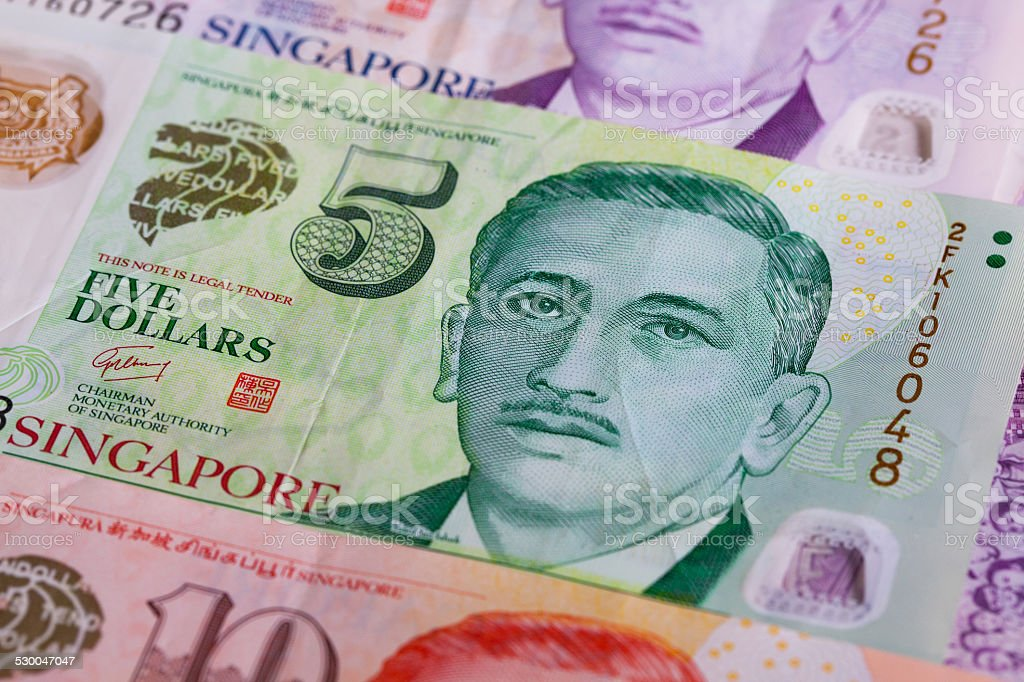 Different Singapore Dollar banknotes stock photo