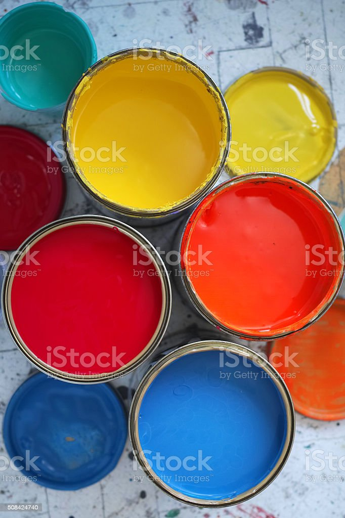 Different Size And Colours Of Paint Tins stock photo