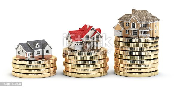 istock Different size houses vith different value on stacks of coins. Concept for property, mortgage and real estate investment. 1038186890