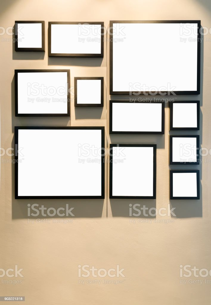Different Size Of Black Photo Frame On Wall Stock Photo & More ...