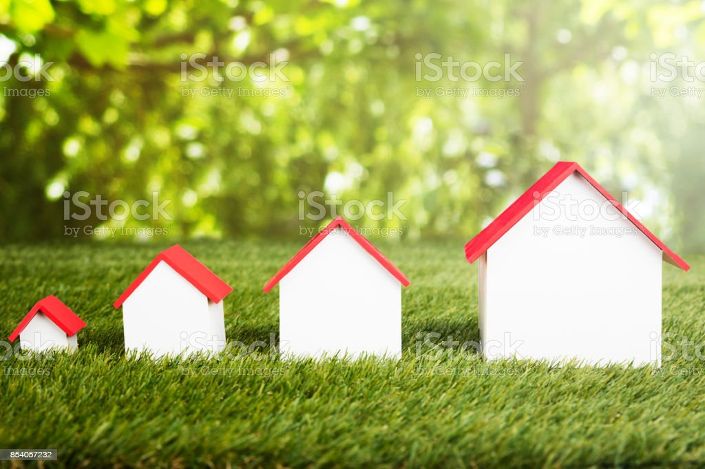 Different Size Of Houses In Row stock photo