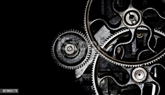machinery background of engaged gears with copy space
