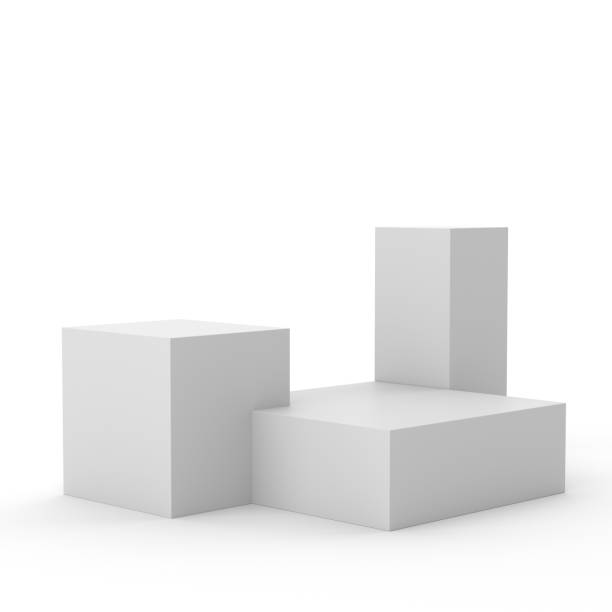 different sizes blank box display - piedistallo foto e immagini stock