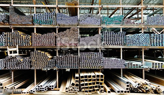 istock Different sizes of square steel tubes on the shelf 1128911145