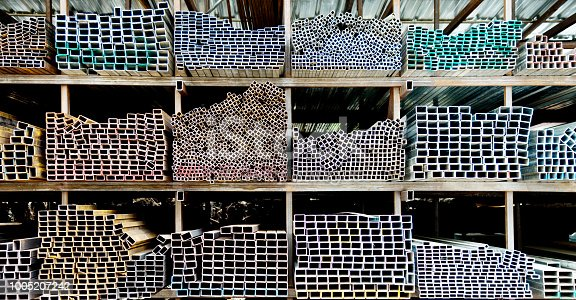 istock Different sizes of square steel tubes 1005207242